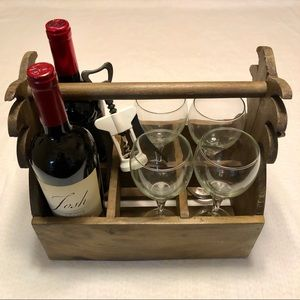 TOMMY BAHAMA Wooden Beer Wine Holder Carrier Caddy